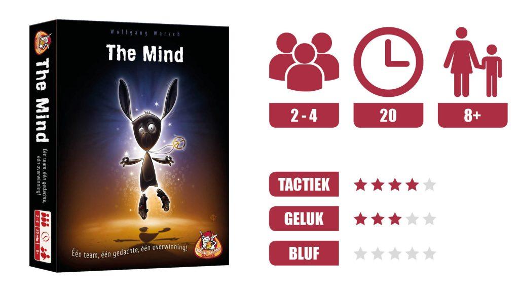 Review van The Mind. 2 - 4 Spelers. 20 minuten speeltijd. Vanaf 8 jaar. Tactiek 4 steren. Geluk 3 sterren. Bluf 0 sterren.