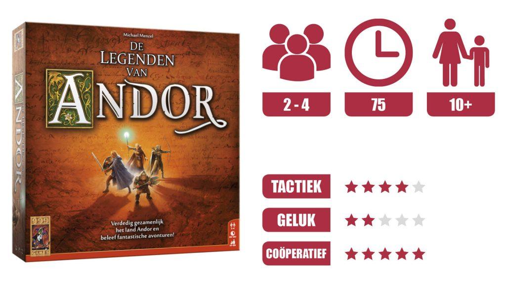 De Legenden van Andor speldoos. 2 tot 4 spelers. Speeltijd 75 minuten. Leeftijf vanaf 10 jaar. Tactiek 4 van de 5 sterren. Geluk 2 van de 5 sterren. Coöperatief 5 van de 5 sterren.