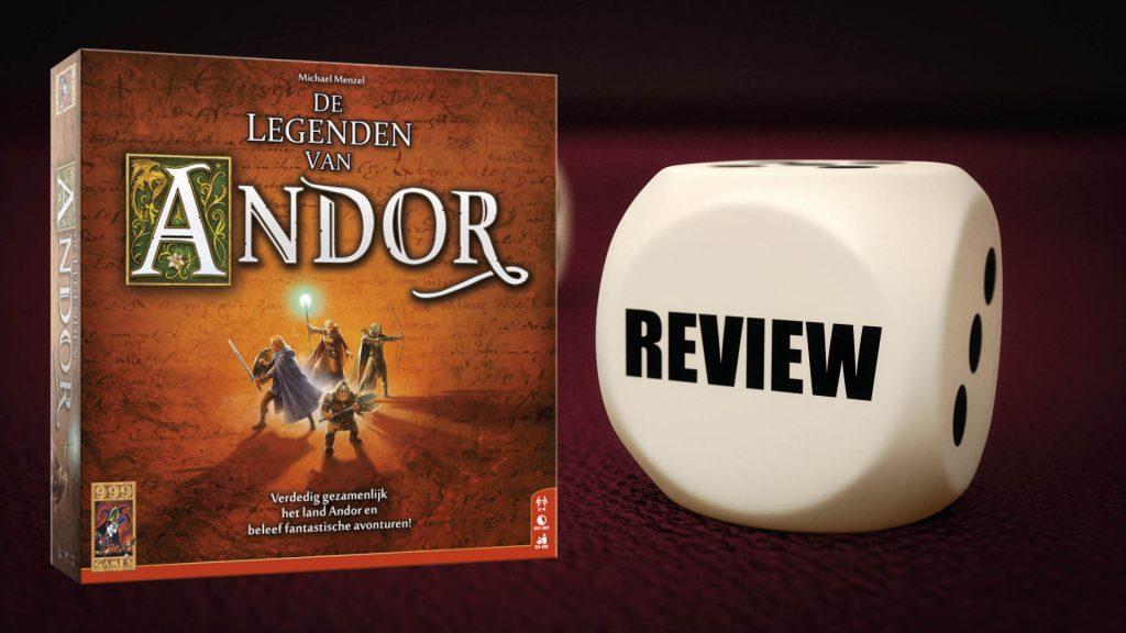 De Legenden van Andor Review. Speldoos van De Legenden van Andor met ernaast een dobbelsteen met de tekst Review.
